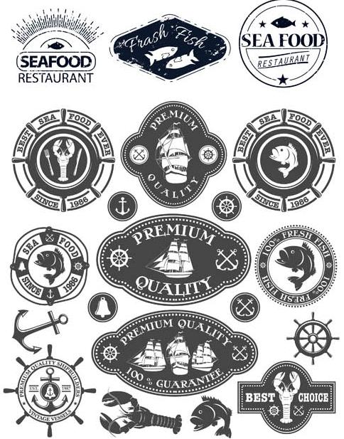 Seafood Retro Labels vectors graphics