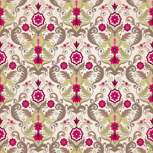 Seamless pattern floral 8 set vector