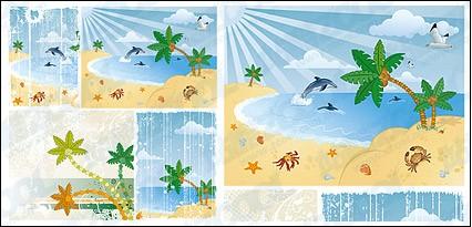 Seascape coconut tree Porpoise design vectors