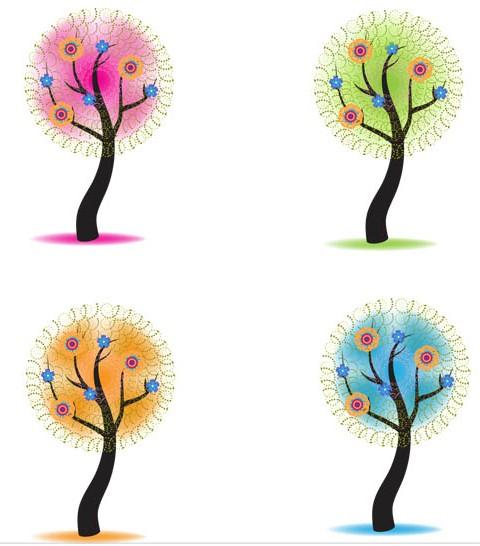 Season Shiny Trees art vector