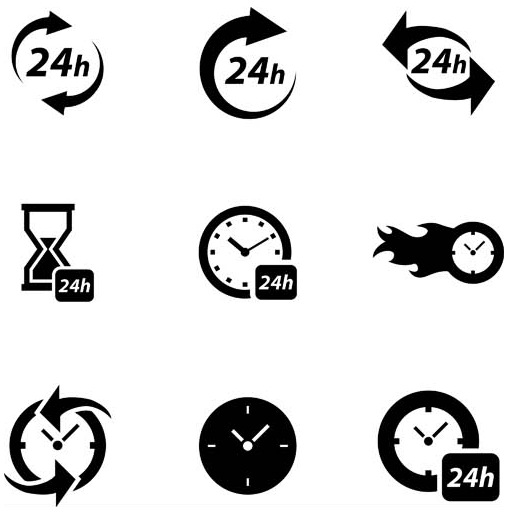 Service 24h Icons vector graphics