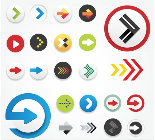 Shiny Arrows Icons free vector
