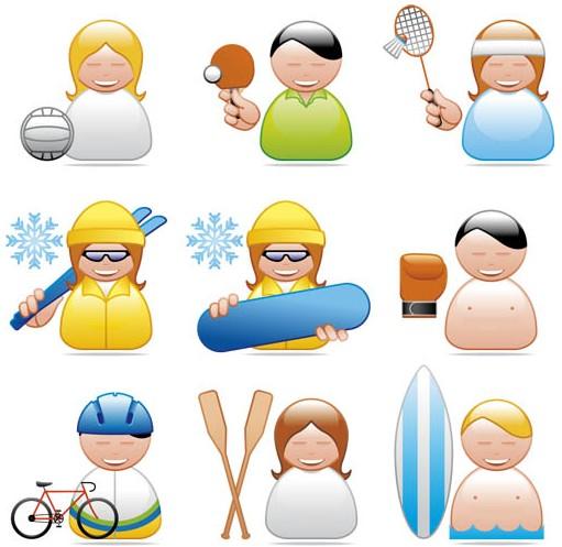 Shiny Athletes Icons art vectors graphics