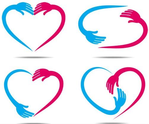 Shiny Color Hearts Elements vector