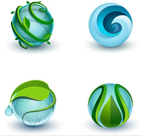 Shiny Eco Symbols vector