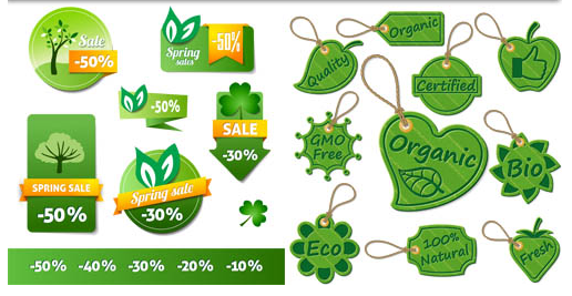 Shiny Ecology Stickers vectors material