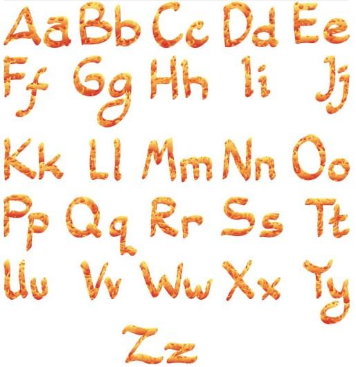 Shiny Fire Alphabet art vector