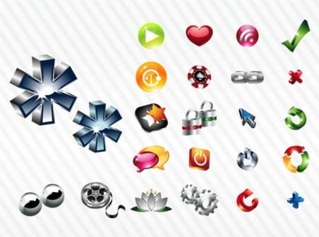Shiny Icon Set design vector