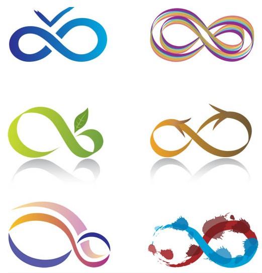 Shiny Infinity Logo set vector