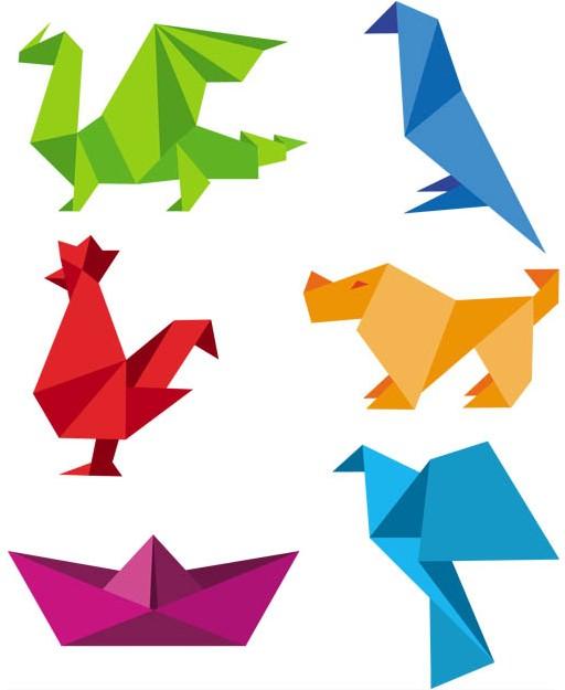 Shiny Origami Animals creative vector