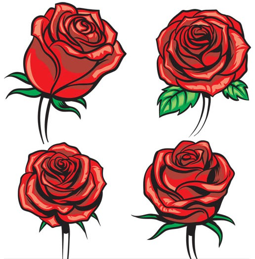 Shiny Red Roses free vector