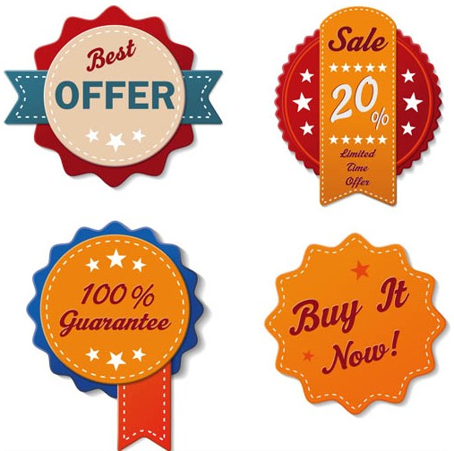 Shiny Sale Vintage Labels vector design
