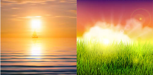 Shiny Sunset Landscapes 2 vector