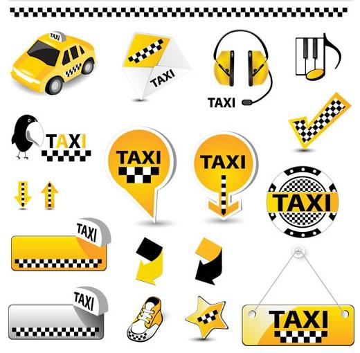 Shiny Taxi Symbols vectors graphics