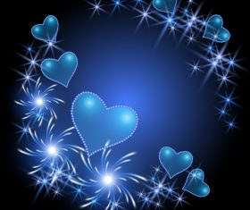 Shiny heart with blue valentine card vector