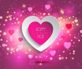 Shiny purple valentines day background with heart vector