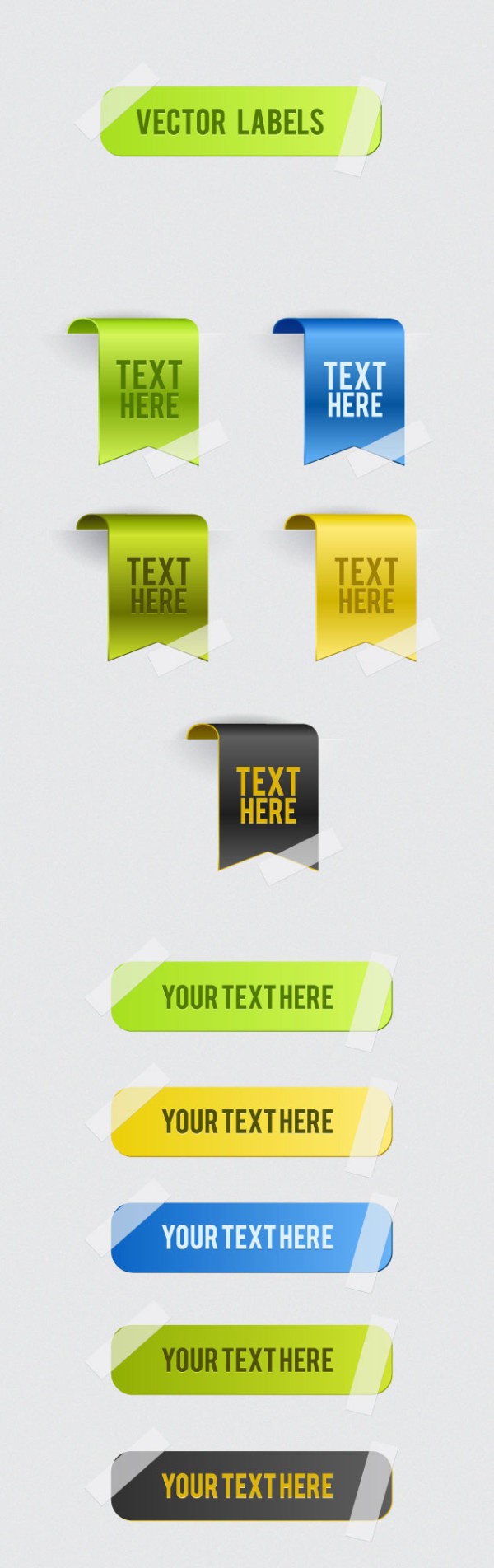 Shiny web labels set vector