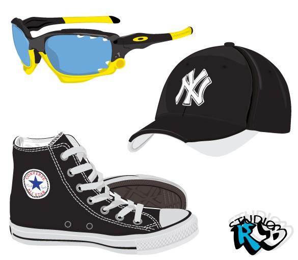 Shoes Sunglasses Hat vector design