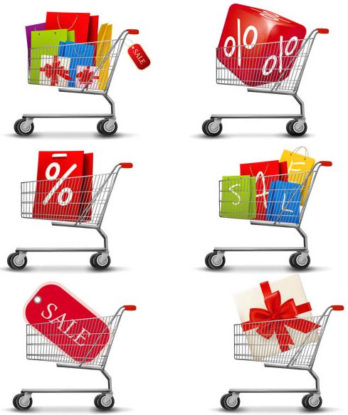 Shop Basket Icons vectors