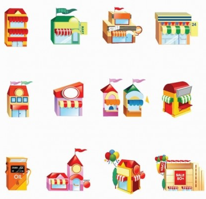 Shop Building Icon Set vector