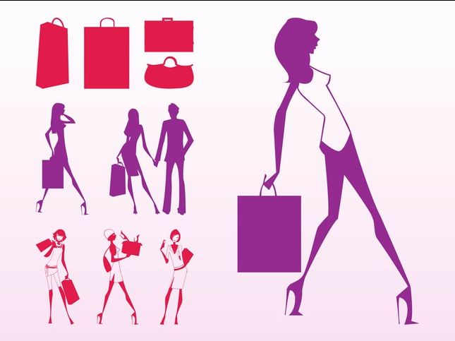 Shopping Girls Silhouettes shiny vector