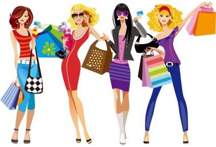 Shopping Girls Vector Illustration set