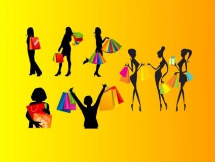 Shopping female silhouette vector