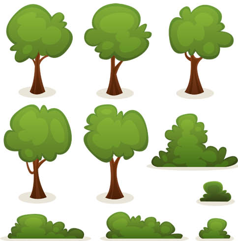 Shrubs and Trees set vector