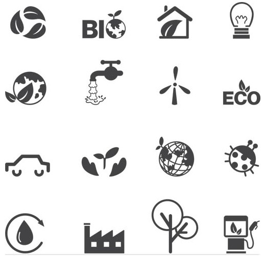 Silhouette Eco Icons vector graphics