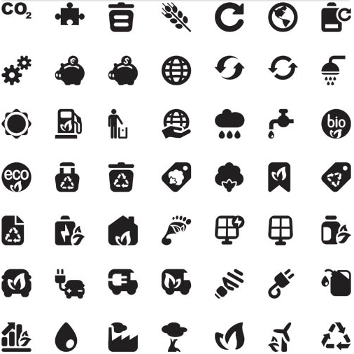 Silhouette Eco Icons 4 vector