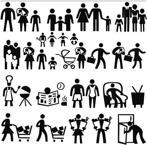 Silhouette Family Icons 2 design vectors