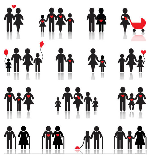 Silhouette Family Icons art Illustration vector