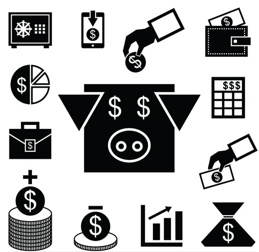 Silhouette Financial Icons 5 vectors material