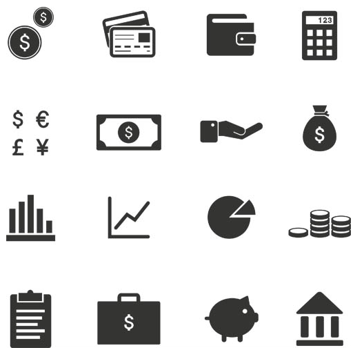 Silhouette Financial Icons 6 vector graphics