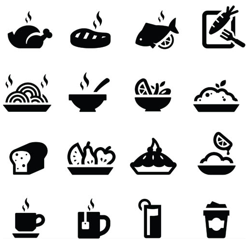 Silhouette Food Icons vector