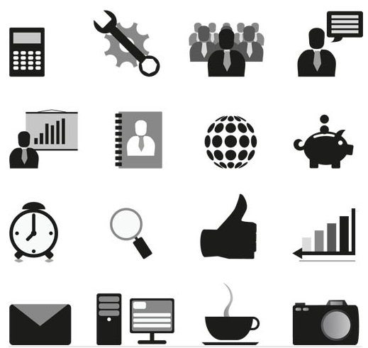 Silhouette Office Icons 3 vector