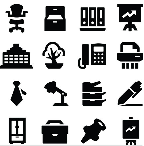 Silhouette Office Icons 4 vector