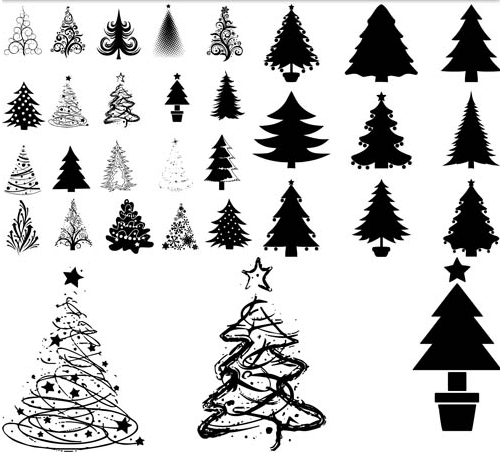 Silhouettes Christmas Trees 2 vector