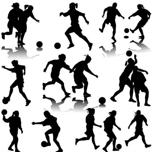 Silhouettes Football Players vector graphics