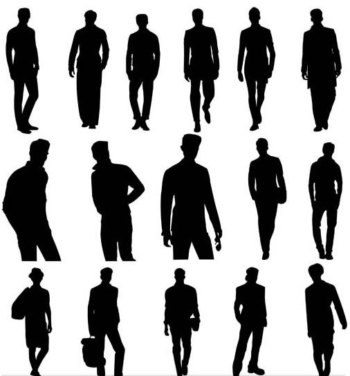 Silhouettes Men Set vector