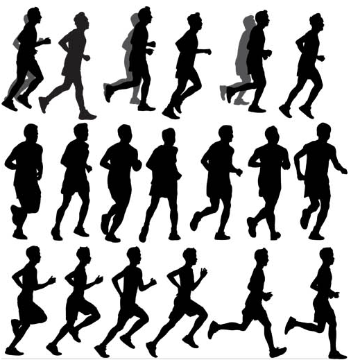 Silhouettes Runners Set vectors