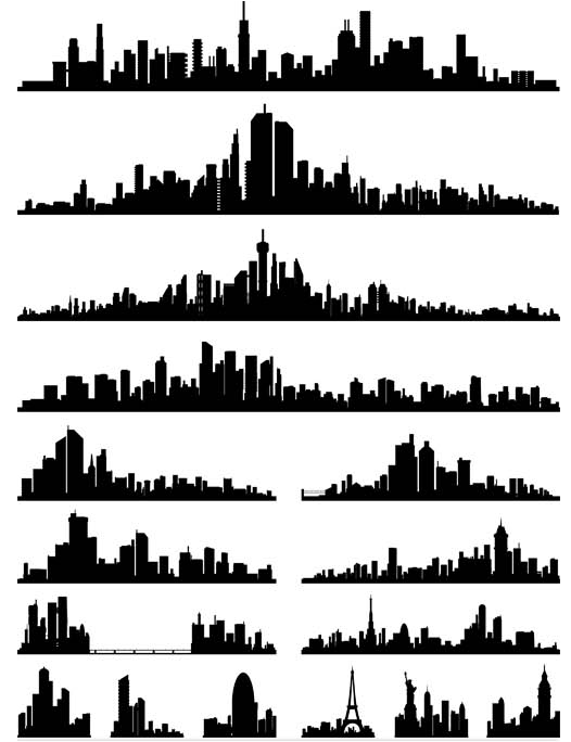 Silhouettes Skyline Cityscapes 3 vector graphics