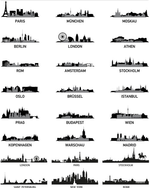 Silhouettes Skyline Cityscapes 6 set vector
