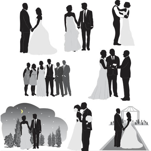 Silhouettes Wedding Couples vector
