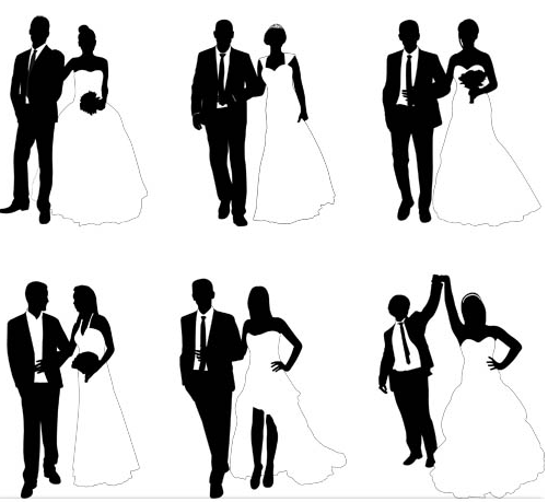 Silhouettes Wedding Couples 2 vectors graphic