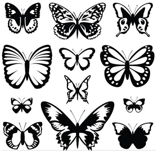 Silhouettes butterflies Vector design vectors