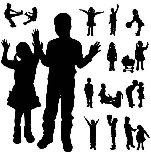 Silhouettes children vectors graphics