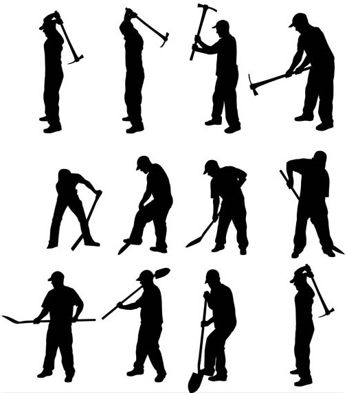 Silhouettes miners Vector