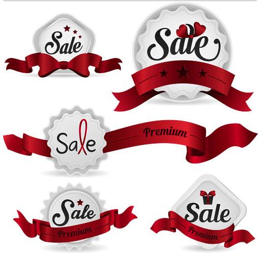 Silver Sale Labels Mix vector design