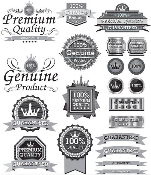 Silver Sale Labels Set design vectors